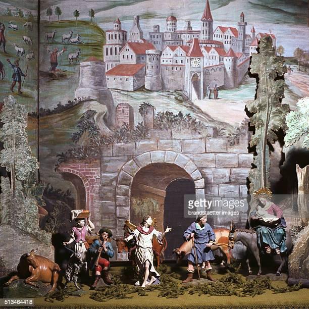 Photograph.Crib in Altmnster by Johann Georg Schwanthaler . Scene 'Flight to Egypt'. By Franz Hubmann.