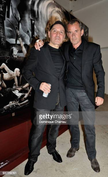 Photographe Gerard Rancinan and French TV personality Christophe Dechavanne attend the Exhibition Launch in Palais de Tokyo at Palais De Tokyo on...