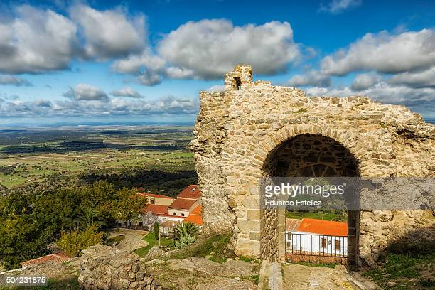CONTENT] Photographed from the ruins of the ancient wall with entrance of a medieval fortress located in Montanchez Spain