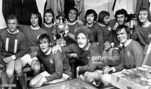 Photographed in the dressing room after their game with Cardiff City are the jubilant Wrexham team with the Welsh FA Cup 12th May 1972