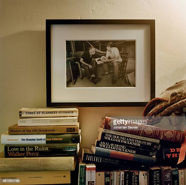 Photographed of writer Steve Oney with Robert Penn Warren is photographed for Town & Country Magazine on October 18, 2012 in Oney's home office in...