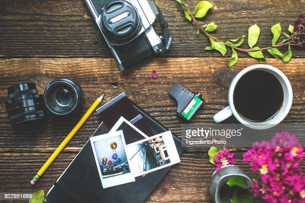 photographer accessories on the table conceptual photography background. - photographic equipment stock pictures, royalty-free photos & images