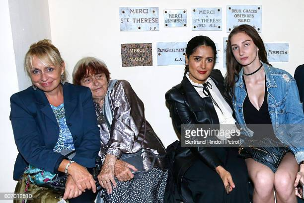 Photographer Agnes Varda her daughter Rosalie Varda actress Salma Hayek and Mathilde Pinault attend the 4O Rue de Sevres Preview at the Head Offices...