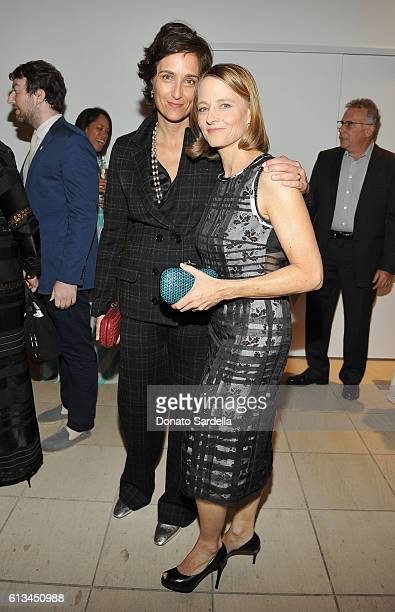 Photographer Alexandra Hedison and actress Jodie Foster both wearing Bottega Veneta attend the Hammer Museum 14th Annual Gala In The Garden with...