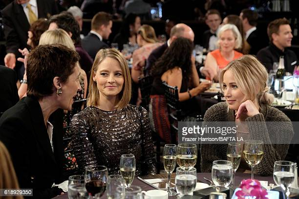 Photographer Alexandra Hedison Honoree Jodie Foster and actress Jennifer Lawrence attend the 2016 AMD British Academy Britannia Awards presented by...