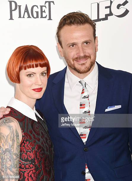 Photographer Alexis Mixter and actor Jason Segel arrive at the 2016 Film Independent Spirit Awards on February 27 2016 in Santa Monica California