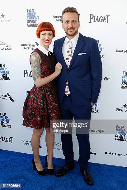 Photographer Alexis Mixter and actor Jason Segel attend the 2016 Film Independent Spirit Awards on February 27 2016 in Santa Monica California
