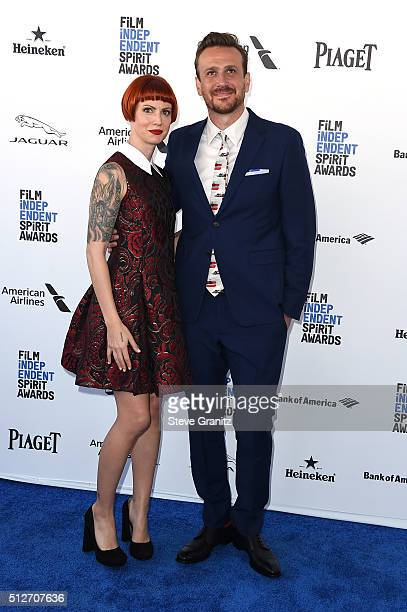 Photographer Alexis Mixter and actor Jason Segel wearing prada attend the 2016 Film Independent Spirit Awards on February 27 2016 in Santa Monica...