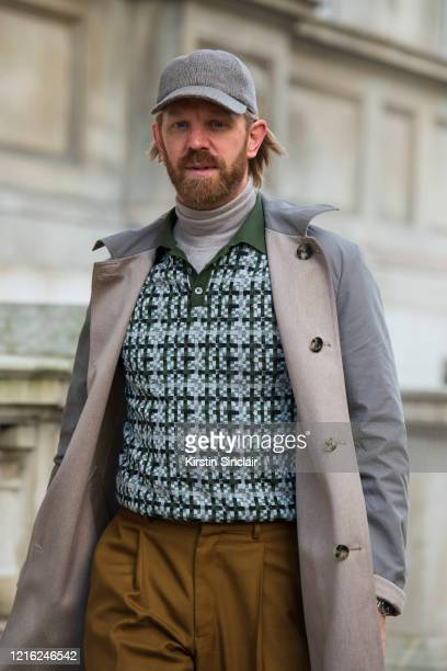 Photographer Alistair Guy wears a Dak's polo shirt E Tautz trousers Hackett roll neck sweater Lock and Co hat and a Johnstons of Elgin coat during...