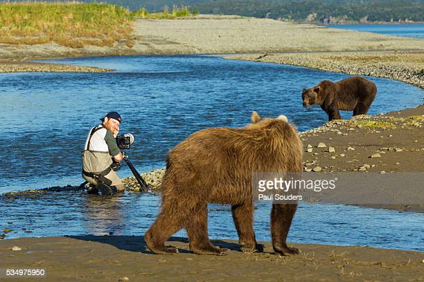 Photographer and Brown Bears, Katmai National Park, Alaska