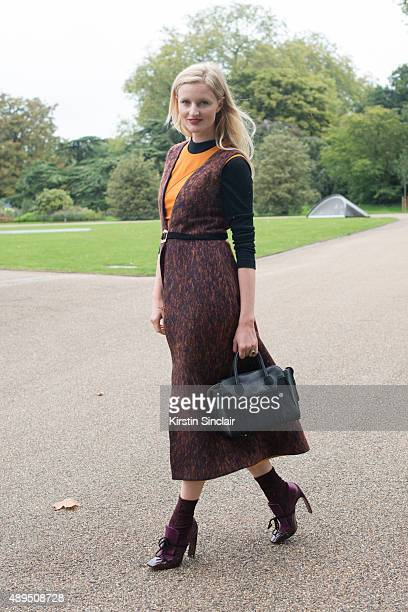 Photographer and fashion blogger Candace Lake wears all Roksanda Ilincic and Emm Kuo dress on day 4 during London Fashion Week Spring/Summer 2016/17...