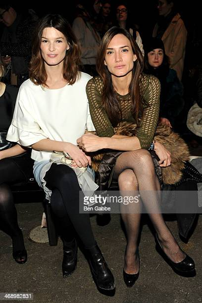 Photographer and fashion blogger Hanneli Mustaparta and jewelry designer Zani Gugelmann attend the Philosophy By Natalie Ratabesi fashion show during...