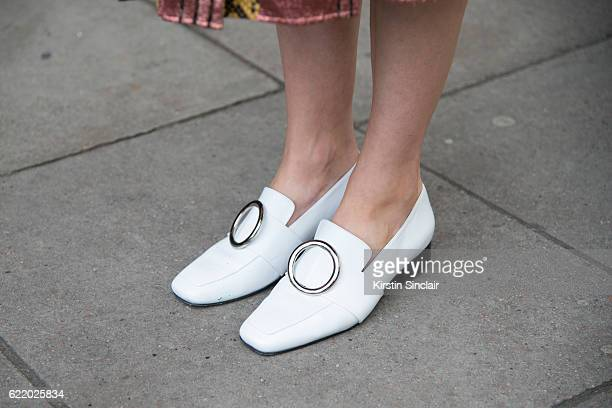 Photographer and Model Candice Lake wears Dorateymur shoes day 4 of London Womens Fashion Week Spring/Summer 2016 on September 19 2016 in London...