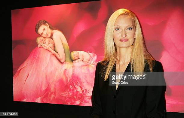Photographer Anne Geddes arrives at a reception to celebrate the release of her CD/book Miracle at Sony Musics Sony Club October 12 2004 in New York...