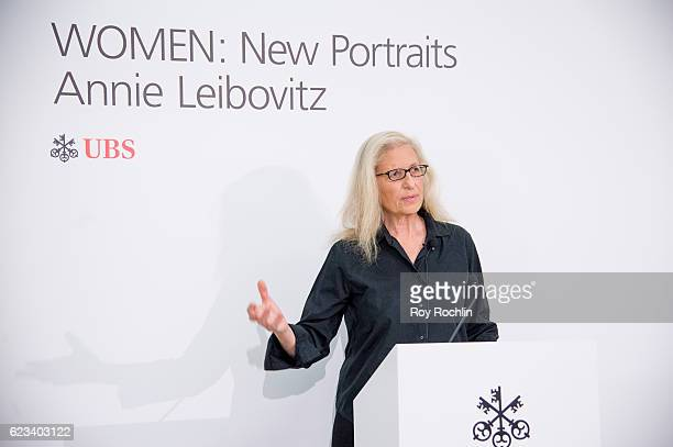 Photographer Annie Leibovitz attends Annie Leibovitz's 'Women New Portraits' Exhibition Opens In New York on November 15 2016 at the former Bayview...