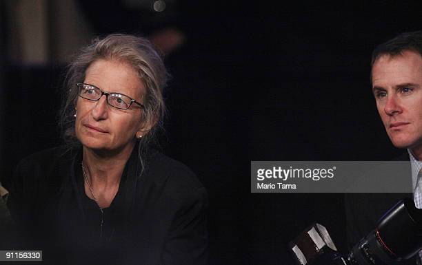 Photographer Annie Leibovitz looks on as US Secretary of State Hillary Rodham Clinton speaks at the Clinton Global Initiative September 25 2009 in...