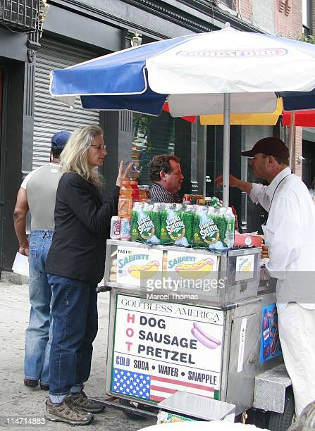 Photographer Annie Leibovitz tries unsucessfully to buy two cold sodas from a prop guy on the set of the movie Made of honor which was on location in...