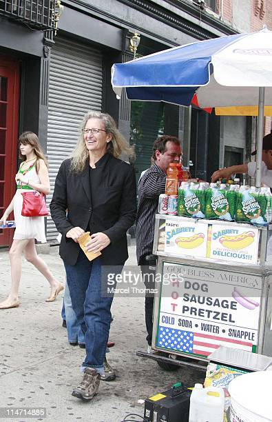 Photographer Annie Leibovitz tries unsucessfully to buy two cold sodas from a prop guy on the set of the movie 'Made of honor' which was on location...