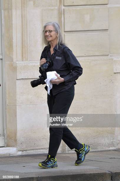 Photographer Annie Leibovitz walks in the Elysee court as French President Emmanuel Macron receives German Chancellor Angela Merkel at Elysee Palace...