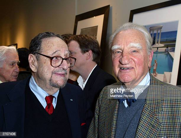 Photographer Arnold Newman and photo editor Frank Zachary attend the Slim Aarons Exhibition/Book Release Party at the Staley Wise Gallery November 6...