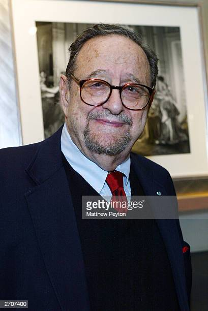 Photographer Arnold Newman attends the Slim Aarons Exhibition/Book Release Party at the Staley Wise Gallery November 6 2003 in New York City
