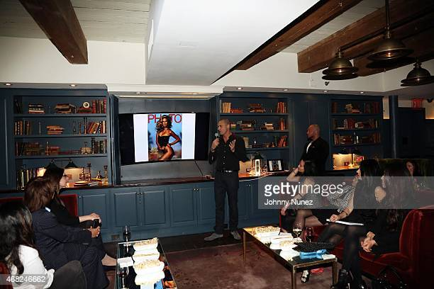 """Photographer, author, and media personality Nigel Barker speaks during his""""Models Of Influence"""" book release event with Kirkland & Ellis at Soho..."""