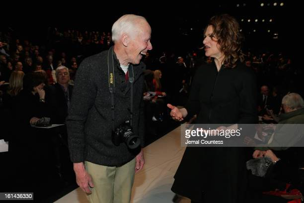 Photographer Bill Cunningham and Sandra Bernhard attend the Ralph Rucci Fall 2013 fashion show during MercedesBenz Fashion at The Theatre at Lincoln...