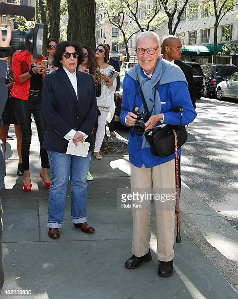 Photographer Bill Cunningham arrives for the Carolina Herrera show during Spring 2016 New York Fashion Week at The Frick Collection on September 14...