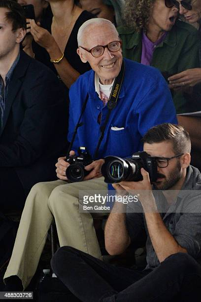 Photographer Bill Cunningham attends Rodarte Spring 2016 during New York Fashion Week at Center 548 on September 15 2015 in New York City