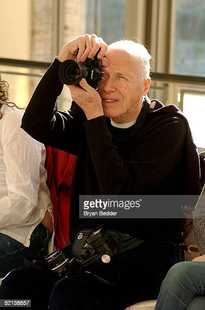 Photographer Bill Cunningham attends the Mary Ping Fall 2005 fashion show during Olympus Fashion Week February 5 2005 in New York City