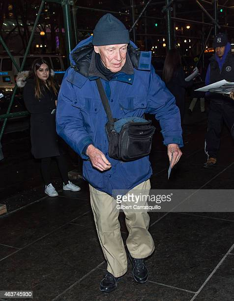 Photographer Bill Cunningham is seen arriving at Oscar de la Renta fashion show during MercedesBenz Fashion Week Fall 2015 on February 17 2015 in New...