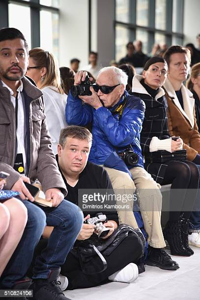 Photographer Bill Cunningham photographs the Michael Kors Fall 2016 Runway Show during New York Fashion Week The Shows at Spring Studios on February...