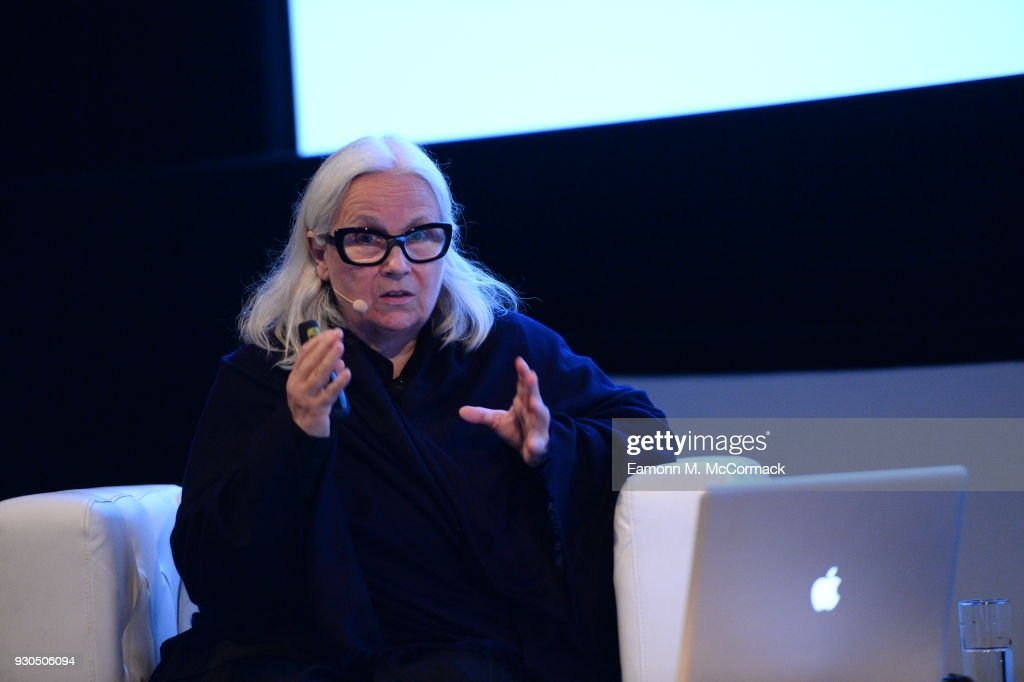 Photographer Brigitte Lacombe speaks on stage during the Qumra Talks: On Photography on day three of Qumra, the fourth edition of the industry event by the Doha Film Institute dedicated to the development of emerging filmmakers on March 11, 2018 in Doha, Qatar.
