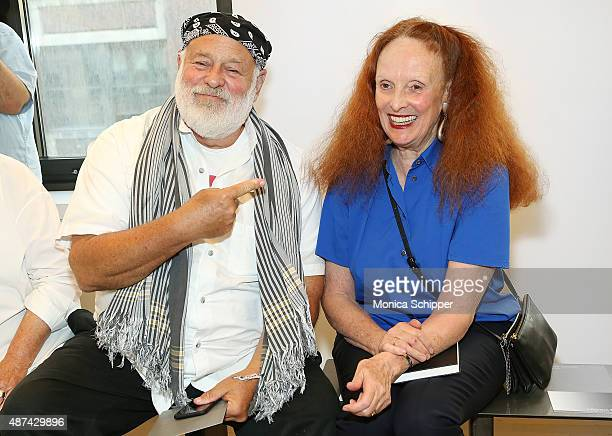 Photographer Bruce Weber and creative director of American Vogue Grace Coddington attend the Victor Alfaro Studio Workshop during Spring 2016 New...
