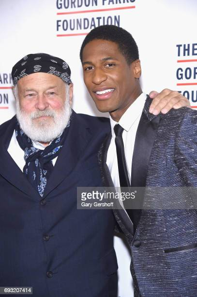 Photographer Bruce Weber and event honoree musician and band leader Jon Batiste attend the 2017 Gordon Parks Foundation Awards gala at Cipriani 42nd...