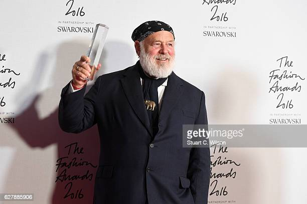 Photographer Bruce Weber poses in the winners room after winning the Isabella Blow award for fashion creator at The Fashion Awards 2016 at Royal...