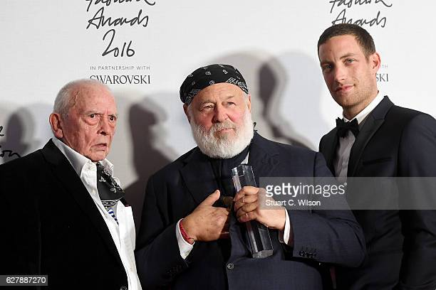 Photographer Bruce Weber poses in the winners room with presenters David Bailey and James Jagger after winning the Isabella Blow award for fashion...