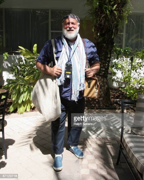 Photographer Bruce Weber prepares for a photoshoot with director Wm Wenders during the Miami International Film Festival at the National Hotel March...