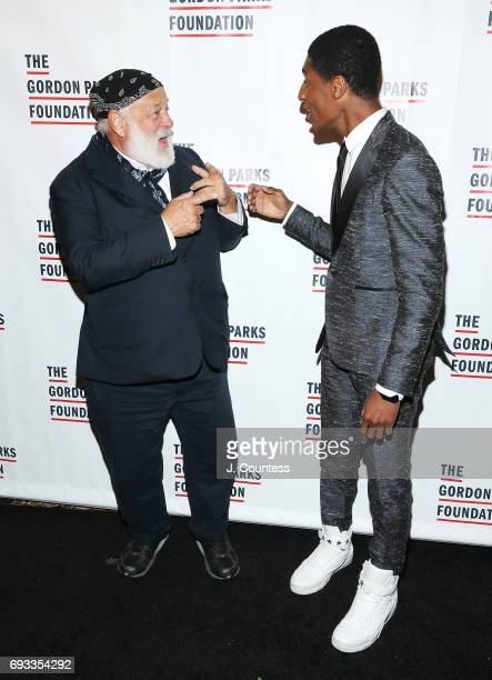 Photographer Bruce Webster and musician Jon Batiste attend the 2017 Gordon Parks Foundation Awards Gala at Cipriani 42nd Street on June 6 2017 in New...