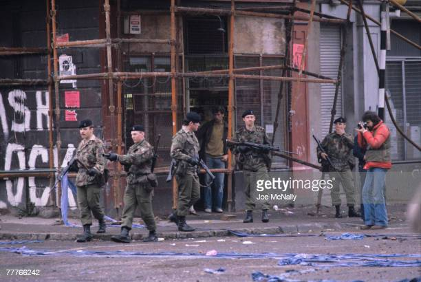 A photographer captures a scene of soldiers infront of a buiding in May of 1981 in Northern Ireland Bobby Sands an active member of the Irish...