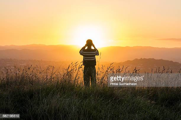Photographer captures sunset on Mount Eden, Auckland