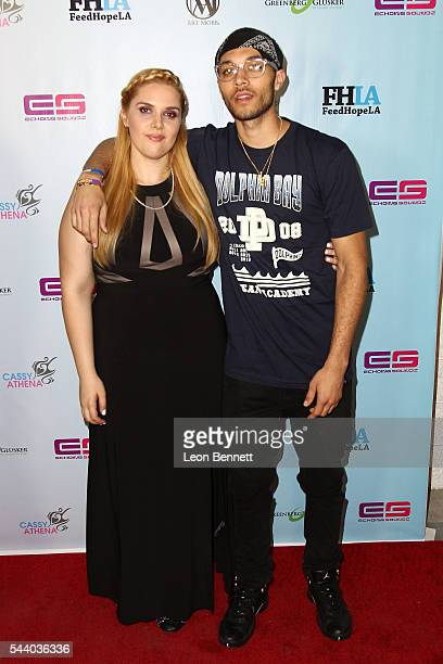 Photographer Cassy Athena and music artist Kalin White attends the EMotion Art Show on June 30 2016 in Los Angeles California