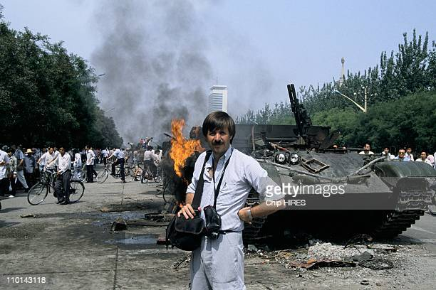 Photographer Chip Hires during the Tiananmen Square protests in Beijing China on June 05 1989