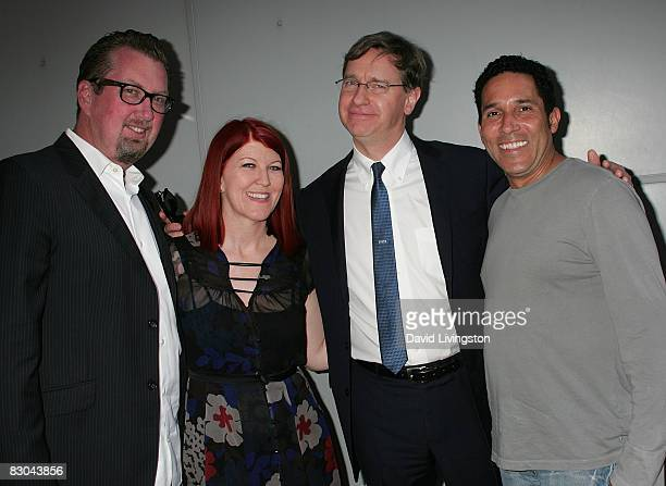 Photographer Chris Haston actress Kate Flannery author Paul Feig and actor Oscar Martinez attend a party for Feig's scifi novel Ignatius MacFarland...