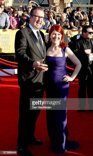 Photographer Chris Haston and actress Kate Flannery arrive at the 18th Annual Screen Actors Guild Awards held at The Shrine Auditorium on January 29...