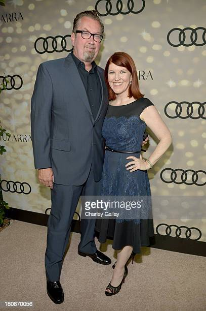 Photographer Chris Haston and actress Kate Flannery attend the Audi and Altuzarra KickOff Emmys Week 2013 event at Ceconni's on September 15 2013 in...