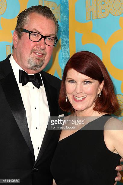 Photographer Chris Haston and actress Kate Flannery attend the HBO'S Post Golden Globe Party held at The Beverly Hilton Hotel on January 11 2015 in...