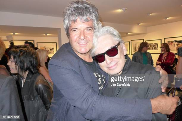 Photographer Chris Stein of the rock band Blondie and drummer Clem Burke pose for a portrait at the Morrison Hotel Gallery at the Sunset Marquis...