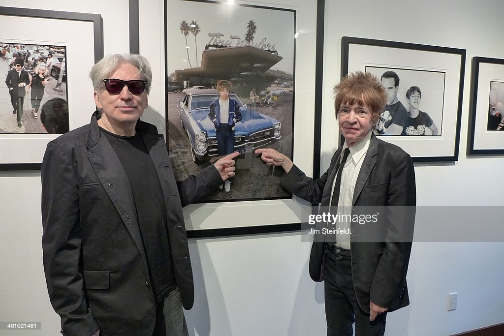 Photographer Chris Stein of the rock band Blondie and radio dj Rodney Bingenheimer pose for a portrait at the Morrison Hotel Gallery at the Sunset Marquis Hotel in Los Angeles, California on August 9, 2013.