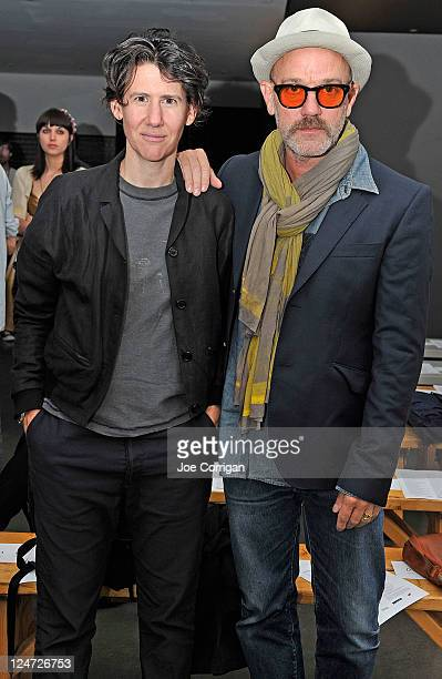 Photographer Collier Schorr and R.E.M. Lead vocalist/songwriter Michael Stipe attend the Patrick Ervell Spring 2012 fashion show during Mercedes-Benz...